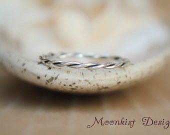 Size 6 - Narrow Hand Forged Twisted Wedding Band in Sterling - Silver Wire Accent Ring - Twisted Wire Stacking Ring - Ready to Ship