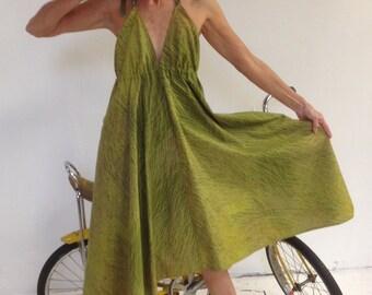Marimekko  Bohemian Backless Halter Bike Sundress Beach Dress Hippie Dress Long Halter Dress