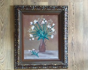 Acrylic Painting - Flowers in Vase Wall Art - Framed Canvas Paintings