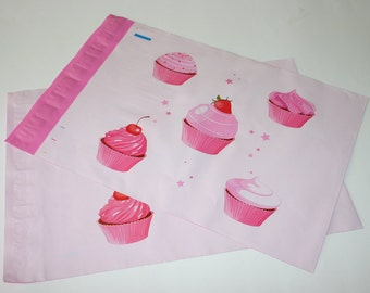 25 Designer Poly Mailers 10x13 Pink White Cupcakes Envelopes Shipping Bags