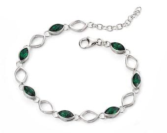 Green Moss Teardrop Leaf Silver Bracelet