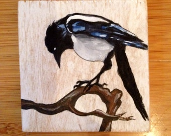 SOLD--Hand painted Magpie portrait on wood