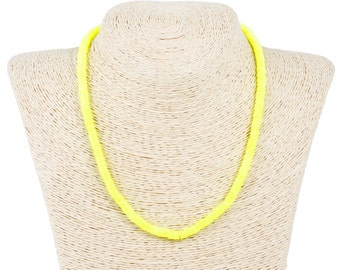 neon yellow dyed puka shell necklace