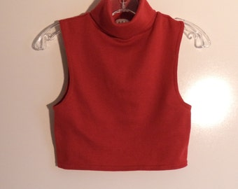90s crop top tank turtleneck// Vintage White Stag// Women's size sm-med