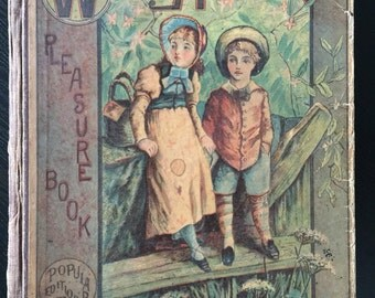 Antique Book 1877, Wide Awake Pleasure Children's Book for Children of all Ages, Retro Victorian Illustration,