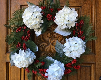 SALE / Winter Hydrangea Wreath / Winter Wreath / Christmas Wreath / White Flower Wreath / Hydrangea Wreath / White Wreath / Modern Wreath