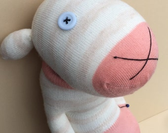 Sock Creature - Coral & Cream Striped - One of a Kind