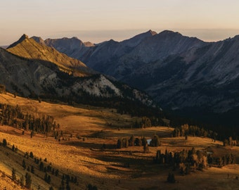 Extra Large Wall Art, 20x60 Panoramic Print, Golden Glow, Sunrise Panorama, Fine Art Landscape Photography, Idaho Mountain Photo,Morning Sun