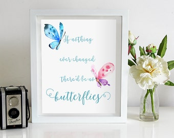 Butterfly quote, print, inspirational, watercolor butterflies, If nothing ever changed there'd be no butterflies, instant download, wall art