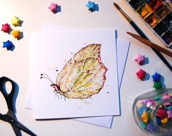 Brimstone Butterfly Illustrated Greetings Card - Hand Drawn Watercolour Print