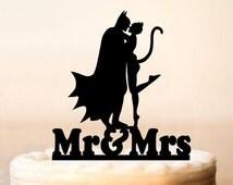 Batman Cake Topper,Batman And Catwoman Cake Topper,Weddings Batman Silhouette Cake Topper,Couple Silhouette,Personalized Cake Topper (0094)