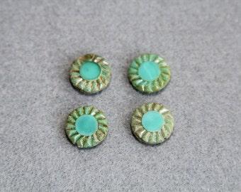 Opaque Czech Glass Sunflower Bead, Bohemian Picasso Table Cut Bronze Blue Teal Beads, Wheel Gear Flat Round, Jewelry, DIY Craft Supplies