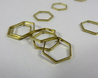 Small Stitch Markers | Snag Free Stitch Markers | Snagless Stitch Markers | Simple Brass Hexagon Stitch Markers | Metal Stitch Markers