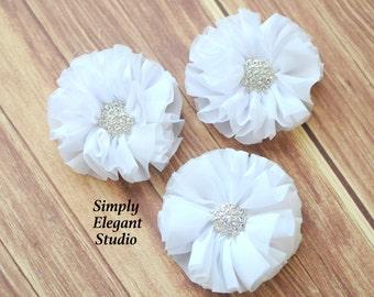 "White Chiffon Flower, 2.5"" Fabric Flower, Rhinestone Ruffled Flower, Craft Supply Flower"