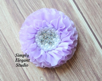 Lavender Chiffon Flowers with Pearls and Rhinestones, Ruffled Fabric Flowers, Baby Hair Accessories