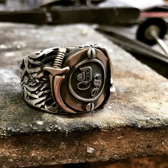 rings jewelry mens ring steampunk custom name monogram. Black Bedroom Furniture Sets. Home Design Ideas