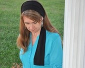 Women's Black Stretch Hair Wrap, head scarf, Headband, Hair Tie, Headcovering, headscarf, Head Covering, handmade gift, hair scarf head band