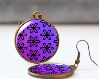 Purple floral earrings, Dangle earrings with flowers, Epoxy jewelry, Spring and summer romantic jewelry for women, 5013-3