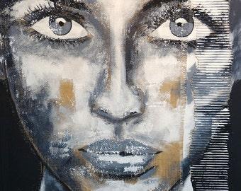 "SOLD artLigne  XXL  31.5"" x 47"" inch Portrait black white art original face"