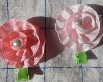Flower Hair Clip, Flower Hair Bow, Ribbon Hair Bow, Flower Bow, Girls Bow, Baby Bow, Hair Accessories