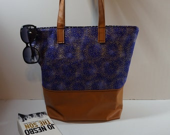 Mini Dots Floral Purple Metallic Large Tote Bag, Beach Shoulder Bag, feminine floral tote for summer