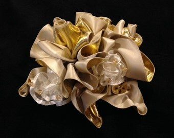 Ivory & Gold Ribbon Roses Barrette