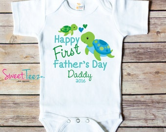 Happy First Father's Day Shirt Turtle Baby Boy Girl Bodysuit Personalized