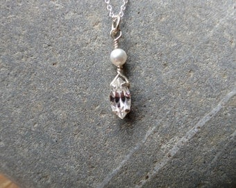 Petite Swarovski  Pearl and Crystal Navette Sterling Silver Pendant and Chain, Pearl pendant, Wedding Pendant, Bridal Pendant