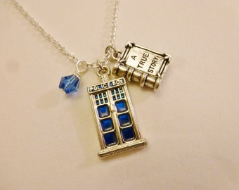 Police box doctor inspired silver necklace