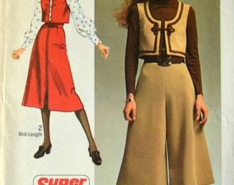 Uncut 1970s Simplicity Vintage Sewing Pattern 9102, Size 14; Misses' Dress Vest, Midi-Pantskirt, and Midi-Skirt