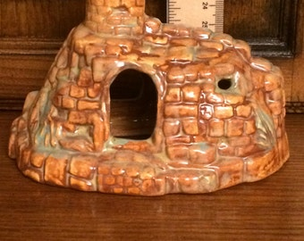 Castle - Ceramic Bisque- Hand Made - Hand Painted - Aquarium Piece