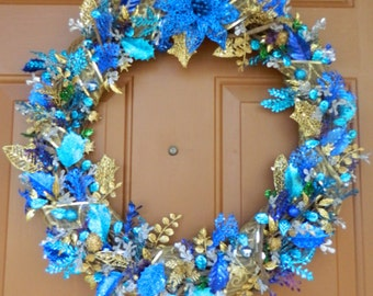 Holiday wreath - blues and gold