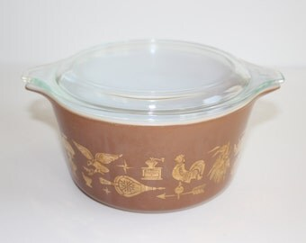 Vintage Pyrex Baking Dish With Lid Earley American Brown and Gold One Quart Size