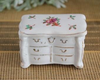 Vintage Porcelain Miniature Dresser Trinket Box Covered Trinket Dish Made in Japan