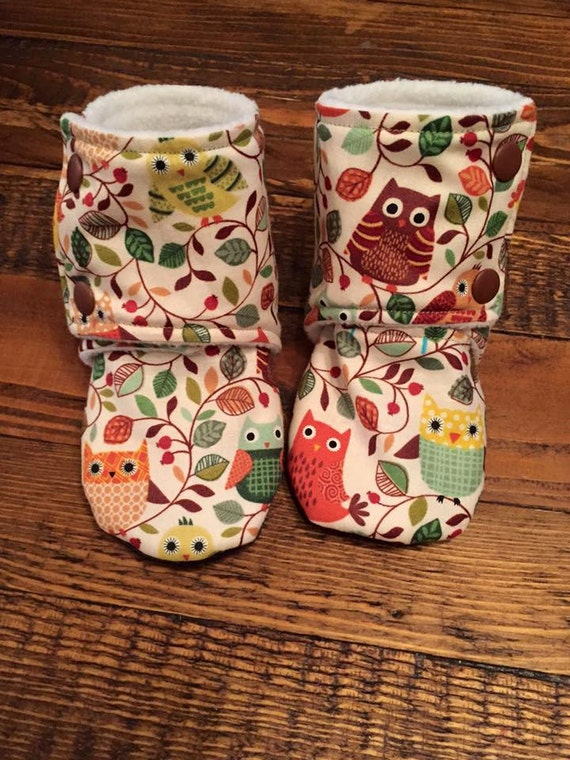 Owl Woodland Print Baby Stay On Booties Baby Slippers
