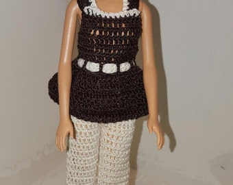 Crochet Barbie Dress, Fashion Doll Crocheted Clothing, Handmade Barbie Clothes,  Let's Go Out To Lunch