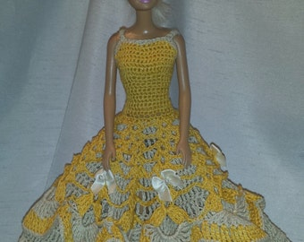 Crochet Barbie Ball Gown, Handmade Crocheted Fashion Doll Dress