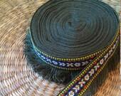 7 Feet Fringe Trim Tribal Tapestry Embellishment Woven Embroidered Trim Navy Green Native Fringe Tribal Cotton Woven Tape Embellishment