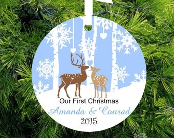 Our First Christmas as Mr and Mrs Ornament - Deer - Personalized Porcelain Newlywed Holiday Ornament - Just Married - lovebirdschristmas