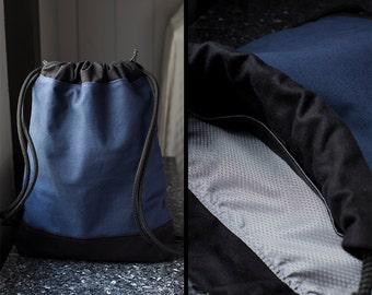 Hipster Backpack - Draw String Bag Navy Blue - Drawstring Backpack - Canvas Backpack for Women & Men - Pull String Backpack - String Bookbag