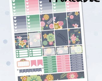 Navy Floral Weekly / Instant Download / Printable Planner Stickers / ECLP / Erin Condren Life Planner