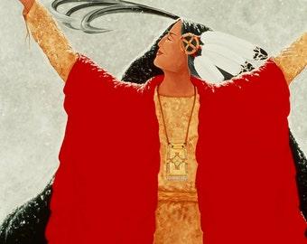 "Giclee Print Fine Art Paper Native American Print Surreal Print Metaphysical Print ""Joyous Surrender"""