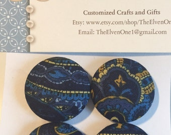 Fabric Covered Button Magnets - Blue and Gold pattern - Regal look