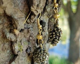 Golden Pine Cone Earrings