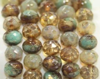 Czech Rondells 7x5mm 25 Beads