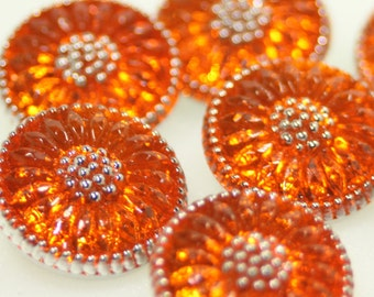 Czech Glass Button, Sunflower, 18mm