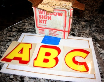 1970s Window Sign Kit//Stick On Letters//Vintage Window Sign Kit