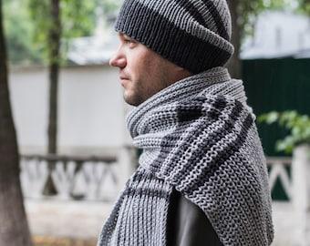 Hand Knit Grey Men Hat, handknit hat, Hat Beanie, Mens hat,  Ready To Ship.