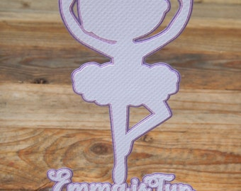 Ballerina Age and Name Cake Topper. Ballerina Topper. Ballerina. Girls Birthday Party. Purple and White. Name Topper. Age Topper. Texture