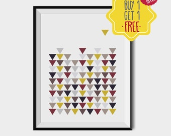Scandinavian triangles prints, Geometry Home decor, Triangles wall art, Pattern printable art, Colorful triangles art decor, Geometric print